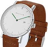 Meller Unisexe Dag Camel minimaliste montre avec affichage analogique et bracelet en cuir blanc