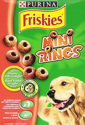 Friskies - Mini Rings, Alimento Complementare per Cani Adulti con l'aggiunta di Manzo, Pollo e Coniglio - 500 g