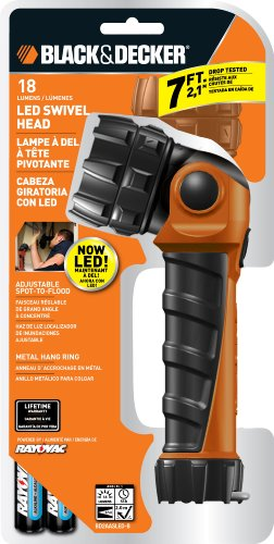 Black & Decker BD2AASLED-B Swivel LED Work Light, 2AA Batteries Included