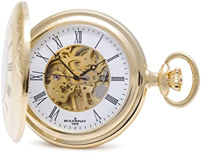 Bouverat 1919 Pocket Watch BV824107 Gold Plated Half Hunter