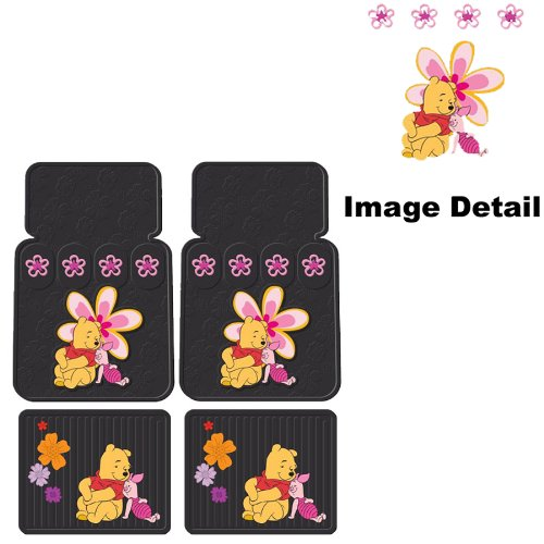 Disney Winnie the Pooh Paradise Flowers Car Truck SUV Front & Rear Seat Rubber Floor Mats - 4PC (Pooh Car Mats compare prices)
