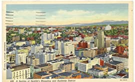 1940s Vintage Postcard Shopping and Business District - Seattle Washington