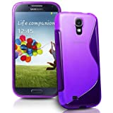 Connect Zone® Samsung Galaxy S4 i9500 S line Silicone Gel Case Cover + Screen Guard And Polishing Cloth (Purple)