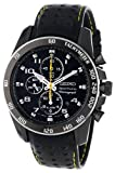 Sportura Alarm Chronograph Black Dial Vented Leather Strap