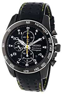 Seiko Sportura Black Dial Black Leather Band Mens Watch