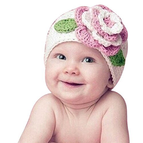 Mokingtop Cute Big Flower Baby Kids Infant Toddler Girl Warm Beanie Knit Hat Cap