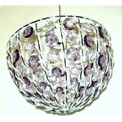 Colours suspension charly 39 s mauve purple beaded ceiling for Purple beaded lamp shade