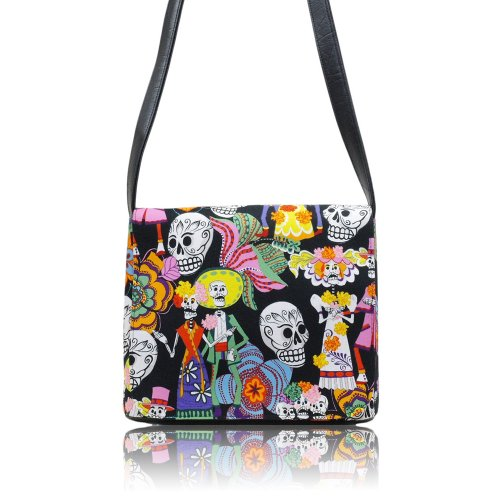 US HANDMADE FASHION LOS NOVIOS SKULLS Day Of The Dead Rockabilly Halloween Gothic Messenger Bag Shoulder Bag Style Handmade handbag purse Alexander Henry fabrics, MS 1022