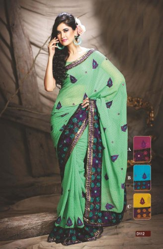 Green Designer Georgette Sari Dot Print Embroidery Party Dress India Fancy Saree
