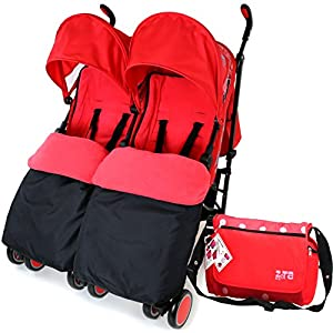 Zeta Citi TWIN Stroller Buggy Pushchair - Warm Red Double Stroller Complete With FootMuffs And Bag from Baby TravelTM