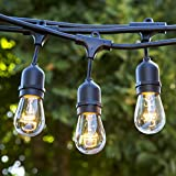Proxy Lighting 48 FT Weatherproof Outdoor String Lights - UL Listed - 48 Feet Long with 15 Dropped Sockets - Perfect Patio Lights - Black