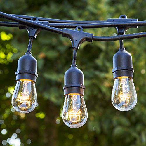 Proxy Lighting Weatherproof String Lights with 15 Dropped Sockets, 48-Feet, Black - With Bulbs (Glow In The Dark Zip Ties compare prices)