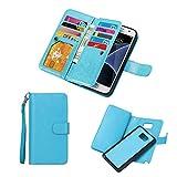 For Samsung Galaxy S6 Edge Plus Wallet Case,ValentoriaLeather Wallet Case Magnetic Detachable Slim Back Cover Card Holder Slot Wrist Strap Case(Samsung Galaxy S6 Edge Plus, Turquoise)