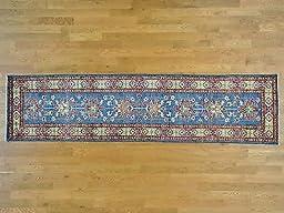2\'8x10\'7 Sky Blue Tribal Design Rug Hand Knotted Runner Super Kazak G25727