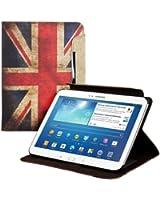 kwmobile Housse en cuir synthétique chic pour Samsung Galaxy Tab 3 10.1 P5200 / P5210 / P5220 en avec fonction support pratique et Motif drapeaux (Angleterre)