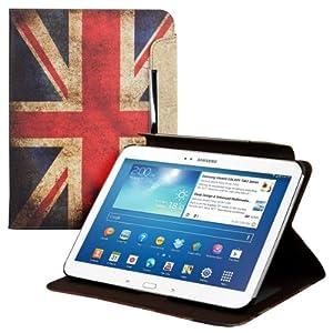 kwmobile® Housse en cuir chic pour Samsung Galaxy Tab 3 10.1 P5200 / P5210 / P5220 en avec fonction support pratique et Motif drapeaux (Angleterre)