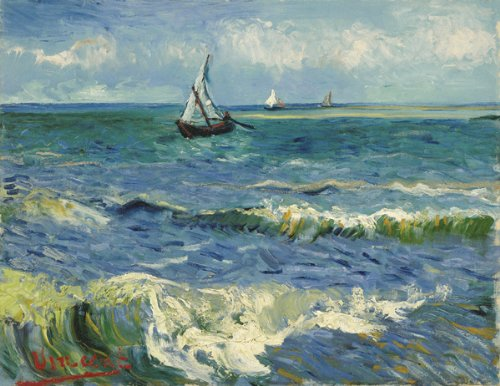 Van Gogh Sea at Saintes-Maries Wooden Jigsaw Puzzle