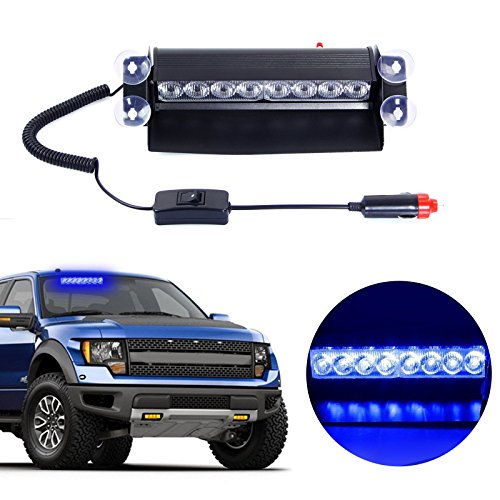 Leapair Automobile Warning/Emergency Strobe LED Light (8-LED, Blue) (Led Blue Emergency Lights compare prices)