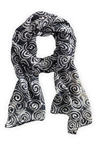 Asian Eye Fair Trade Silk Black Swell Scarf (Black)