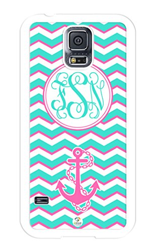 iZERCASE Samsung Galaxy S5 Case Monogram Personalized Turquoise White and Pink Chevron with Cute Anchor RUBBER CASE - Fits Samsung Galaxy S5 T-Mobile, Sprint, Verizon and International (White) (Cute Protective S5 Case compare prices)