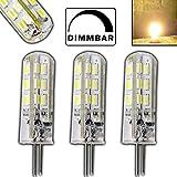 3x Stück- Dimmbare G4 mit 1,5 Watt DIMMBAR und 24 SMDs WARMWEIß 12V DC 125lm für Dimmer Halogenförmig Stiftsockel 360° Leuchtmittel GU4 Lampensockel Spot Halogenersatz Lampe