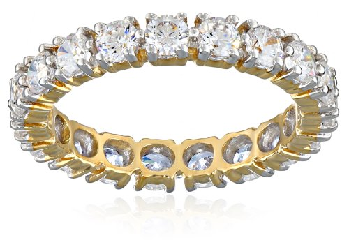 10k Yellow Gold Round All-Around Band Ring Made with Swarovski Zirconia (2 cttw), Size 7