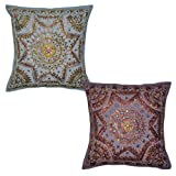 Indian Handmade Embroidery Work Design Mirror Work Cotton Cushion Cover 16x16 Inches Set Of 2 Pcs