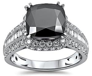 3.82ct Black Cushion Cut Diamond Engagement Ring 18k White Gold