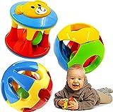 ZEEUPAI - Muy seguro Bola colorida con sonido sonajero pelota para bebe niño niña (3 piezas juntas)