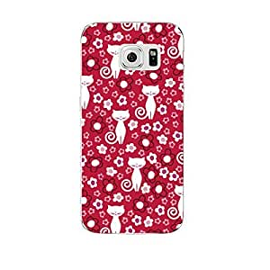 Hamee Designer Case from Japan Clear Protective Plastic Hard Cover for Samsung Galaxy S6 (Flower Design / Cat / Pink)
