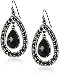 1928 Jewelry Black Suspended Faceted Teardrop Earrings