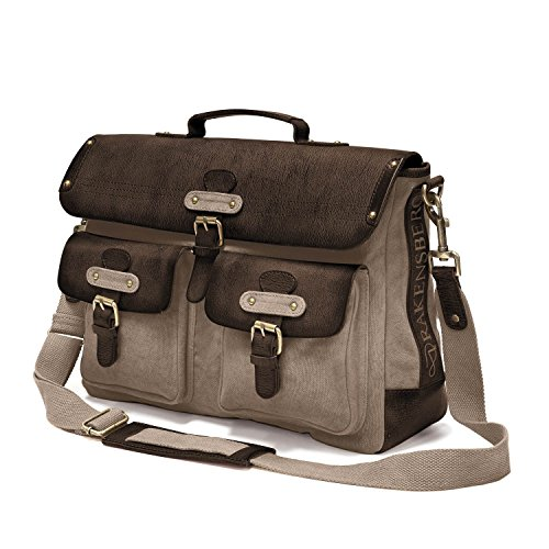 "DRAKENSBERG Kimberley Messenger Laptop Bag, 15"", tracolla, borsa per PC portatile, borse porta PC, cartella, tela, canvas, pelle, vintage, lussuosamente, grigio caldo, marrone scuro"