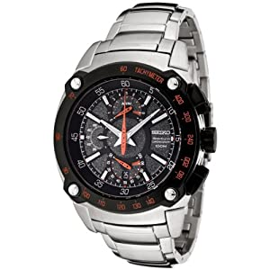 Seiko Men's SPC039 Sportura Flyback Chronograph Grey Dial Stainless Steel Watch
