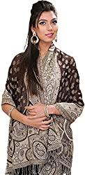 Exotic India Womens Wool Stoles ,Coffee ,Free Size
