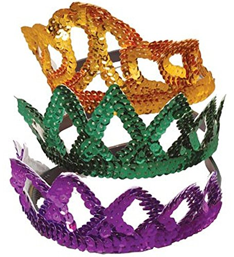 Mardi Gras Sequin Tiara Crowns - Set Of Dozen Sequin Tiara Crowns For Mardi Gras Celebrations