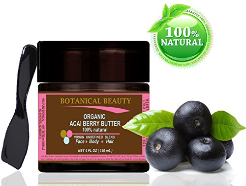 "Organic Acai Berry Butter Brazilian 100 % Natural / 100% Pure Botanicals. Virgin / Unrefined Blend. 4 Fl.Oz.- 120 Ml. For Skin, Hair And Nail Care. ""From Amazon Rainforest. Number One Superfood For The Skin And Hair."" By Botanical Beauty."