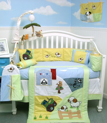New a Day in the Farm Baby Crib Nursery Bedding Set 10 Pieces