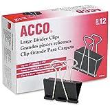 ACCO Binder Clips, Large, 12 Per Box (72100)