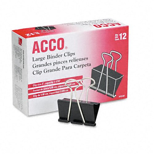 ACCO Binder Clips, Large, 12