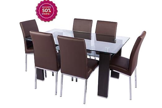 Conjunto mesa de cristal y 4 sillas de comedor