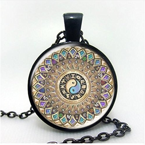 NEW Occult Wicca collana Vintage Gioielli Magic Pentagram vetro cabochon Ciondolo in bronzo/argento/nero
