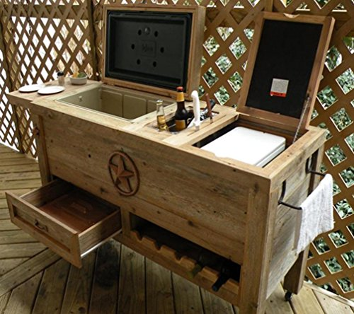 Outdoor Patio Cooler Bar - Wooden Rustic Kitchen Furniture - Grilling Prep Station on Roller Wheels - Wine Storage, Beer Bottle Opener, Towel Rack, Cutting Board Accessories - Handmade Eclectic Decor (Wooden Rolling Cooler compare prices)