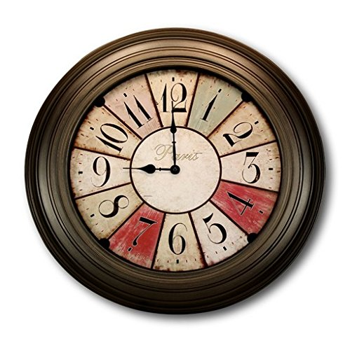 Antique-look Large Paris Wall Clock - Exquisite French Wall Clock Design - 21 Inch Big Wall Clock - Beautiful Vintage Wall Clock Design - Runs on Aa Battery - Boxed for Gift Giving - by BigUpBrands