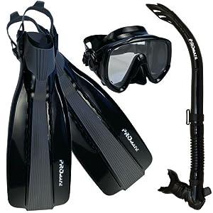 PROMATE Scuba Diving Fins Snorkel Extra-Wide Scuba Mask Set, AllBlack, M