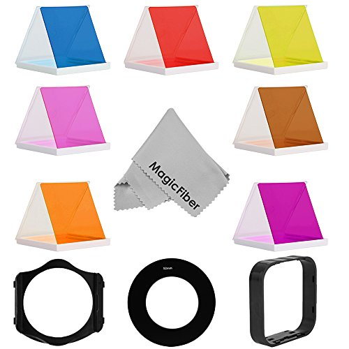 52Mm Essential Square Color Filter Set Compatible With Cokin P Series For Nikon D5200 D5100 D5000 D3300 D3200 D3100 D3000 D7100 D7000 - Includes: Blue, Coffee, Orange, Pink, Purple, Red, Yellow Square Color Filters + 52Mm Adapter Ring + Square Filter Hold