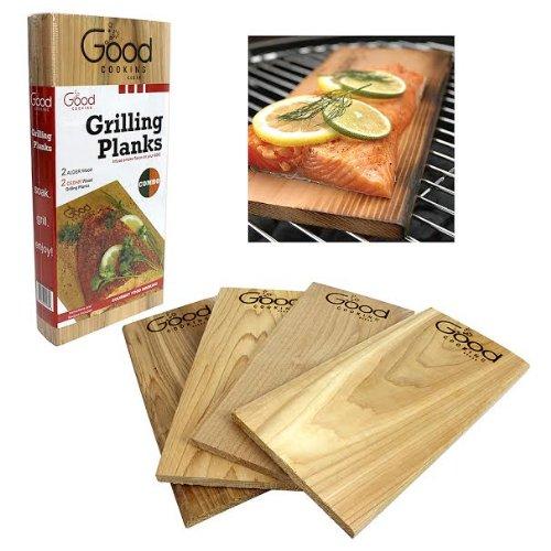 Grilling Planks - Outdoor Barbeque Smoking Grill Planks Variety Pack - Set Of 4 (2 Alder, 2 Cedar)