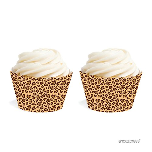 Andaz Press Birthday Cupcake Wrappers, Leopard Cheetah Print, 24-Pack, Decor Decorations Wraps Cupcake Muffin Paper Holders