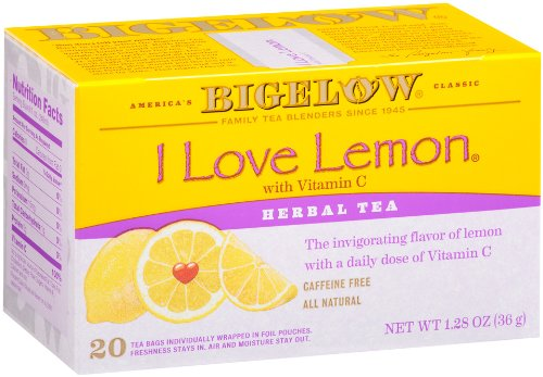 One Pack of 20 Bigelow I Love Lemon Tea Bags