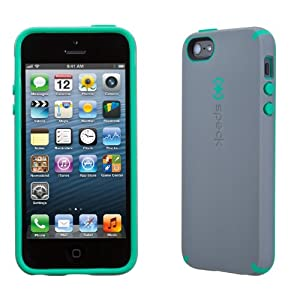 Speck Products SPK-A0630 CandyShell Satin Case for iPhone 5 - Retail Packaging - Graphite Grey/Malachite Green