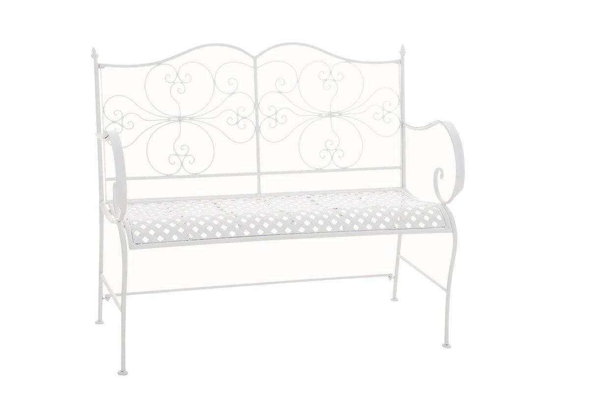 CLP Gartenbank ANNO im Landhausstil, aus lackiertem Eisen, 106 x 51 cm - aus bis zu 6 Farben wählen antik-weiß